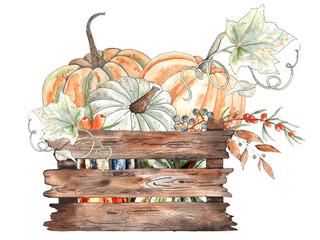 Watercolor autumn compositions with orange and green pumpkins, leaves, branches, berries