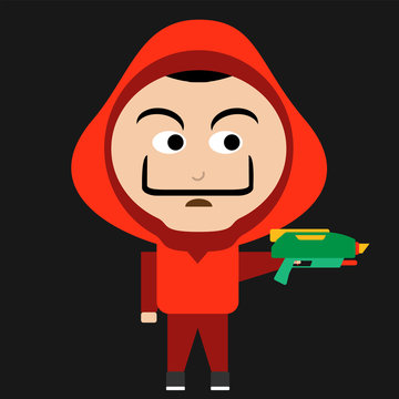 Man with red hood and a big moustache. Heist gangster with water gun. Vector Flat Illustration