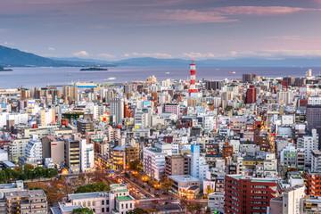 Fototapete - Kagoshima, Japan cityscape