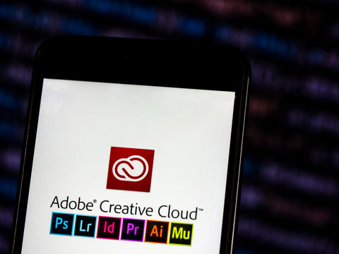 Kiev, Ukraine, November 6, 2018, illustrative editorial. Adobe Creative Cloud logo seen displayed on smart phone