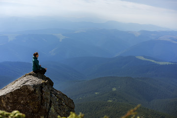hiker girl in the mountains, freedom concept, meditation, yoga