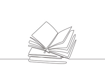 Continuous one line drawing of book. Vector illustration education supplies back to school theme. Stacks of books. Library objects to increase knowledge.