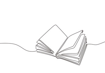 Continuous one line drawing open book with flying pages. Vector illustration education supplies back to school theme. Wall mural