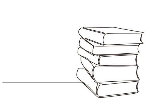 Stack of books on a white background. Continuous one line drawing education supplies vector illustration minimalism