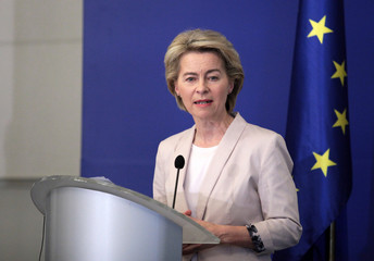European Union Commission President-elect Ursula von der Leyen speaks to the press in Sofia