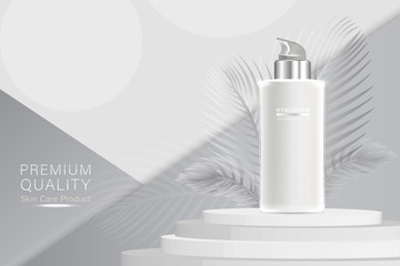 Beauty product ad design, white cosmetic container with collagen solution advertising background ready to use, luxury skin care banner, illustration vector.