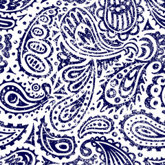 White and blue seamless paisley pattern. Print for textile, packaging, wallpaper. Vector illustration.