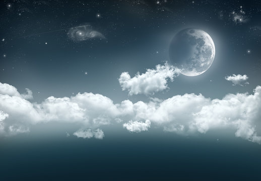 An illustration of a cresent moon on the right with a long band of cloud, stars, shooting star and galaxies against the dark blue of space.