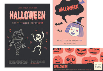 Colorful Halloween Event Layout Pack with Graphic Illustrations