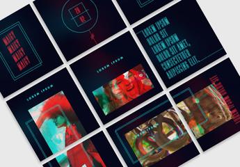 Futuristic Neon Social Media Grid Layout