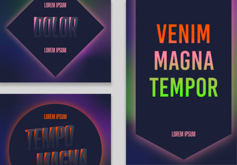 Social Media Post Layouts with Colorful Neon Gradients