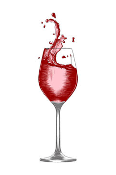 Vector engraved style illustration for posters, logo, decoration and print. Hand drawn sketch a glass of wine with a splashes, colorful isolated on white background. Detailed vintage woodcut style