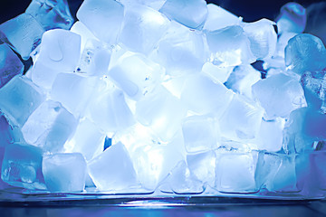 ice cubes texture / blue ice cubes texture, background freshness frost