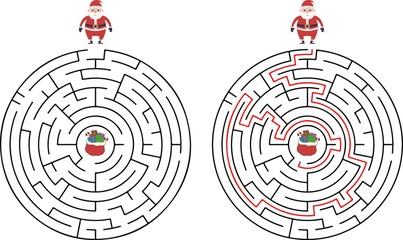 Winter Maze Labyrinth Game with answer. Help Santa find the way out of the Labyrinth. Colorful flat vector illustration.
