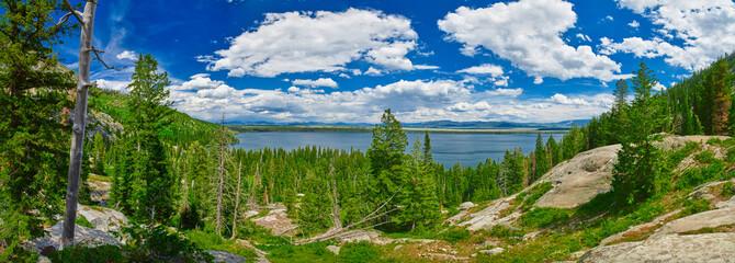 Panorama of Jenny Lake at Grand Teton National Park, Wyoming. Wall mural
