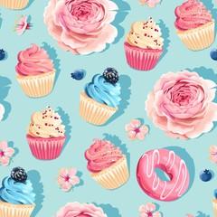 Seamless pastel vector high detail cupcake pattern