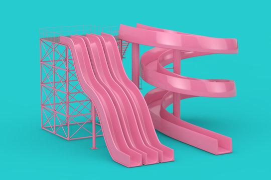 Pink Aquapark Water Slides Mock Up Duotone. 3d Rendering