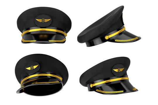 Civil Aviation and Air Transport Airline Pilots Hat or Cap with Gold Aviation Insignia. 3d Rendering