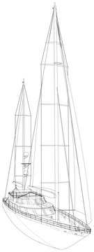 Yacht sailboat or sailing ship wire-frame. Vector illustration. Tracing illustration of 3d.