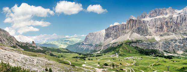 Foto op Plexiglas Pistache Panorama del Passo Dolomitici Gardena