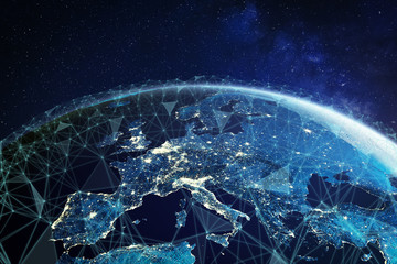 Telecommunication network above Europe viewed from space with connected system for European 5g LTE mobile web, global WiFi connection, Internet of Things (IoT) technology or blockchain fintech Fototapete