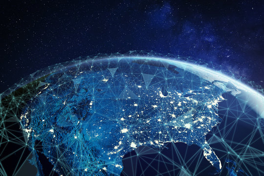 Telecommunication network above North America and United States viewed from space for American 5g LTE mobile web, global WiFi connection, Internet of Things (IoT) technology or blockchain fintech