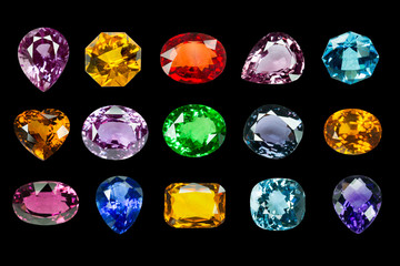 set of Bright gemstone on a black background