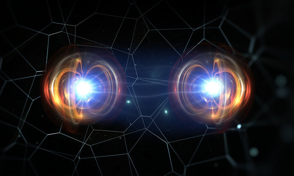 Particles, quantum entanglement (quantum correlation), quantum mechanics. 3d illustration