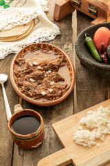 Fototapete - Delicious and traditional mexican breakfast. ingredients for sauce