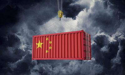 China trade cargo container hanging against dark clouds. 3D Render Wall mural