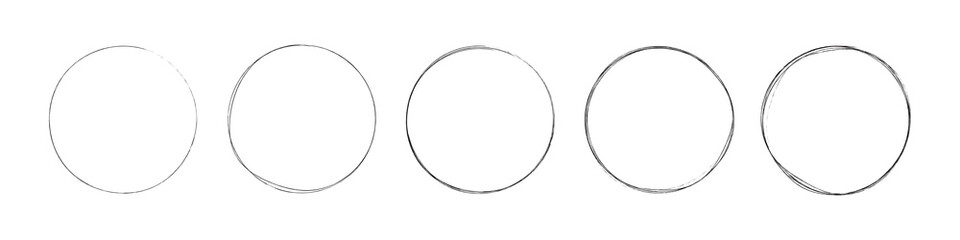 circles set. hand drawing different circles