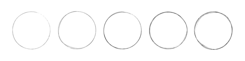 circles set. hand drawing different circles