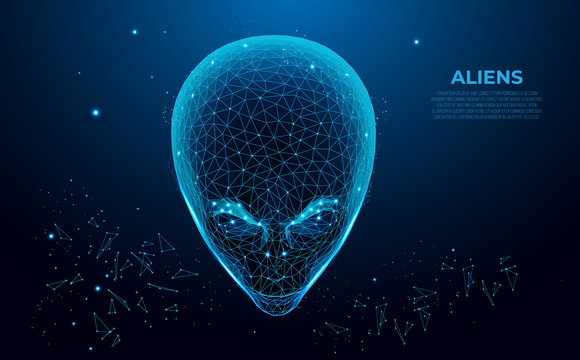 Aliens. Extraterrestrial alien face. Humanoid head, futuristic space invader. Infinity Space with Nebula and Star Light.Polygon vector wireframe concept