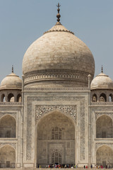 Taj Mahal in Agra, India. Close view of the Taj Mahal and its dome.