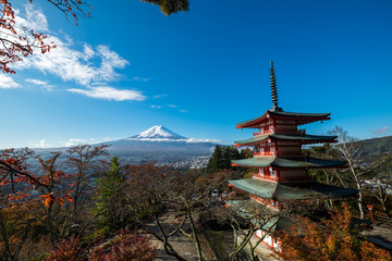 In de dag Blauwe jeans Mt. Fuji with red pagoda in autum, Fujiyoshida, Japan
