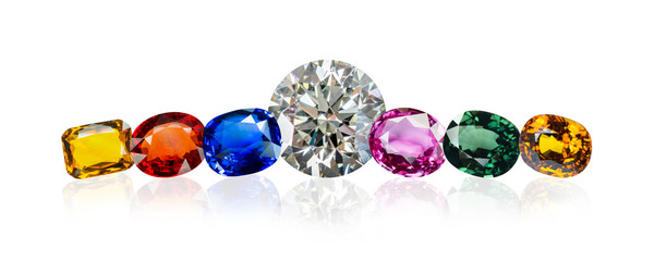 diamond and Bright gems on a white background