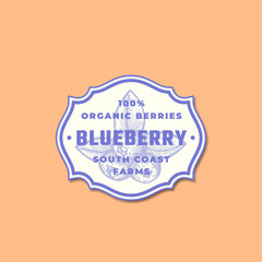 Organic Blueberry Abstract Vector Sign, Symbol or Logo Template. Blue Berry Sketch Sillhouette with Classic Retro Typography in a Frame. Vintage Label, Emblem or Badge.