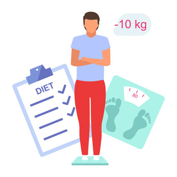 Man losing weight flat vector illustration. Young boy controlling body mass standing on scales isolated cartoon character on white background. Male patient on diet, happy with weight loss result
