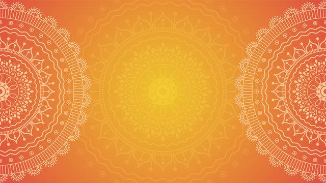 Summer Flower mandala on orange background. Festive folk floral illustration