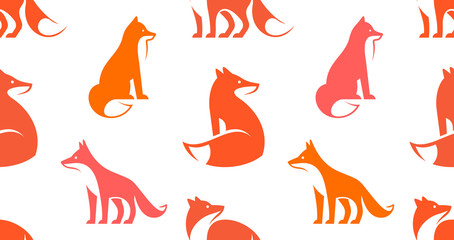Seamless pattern with Fox logo. isolated on white background