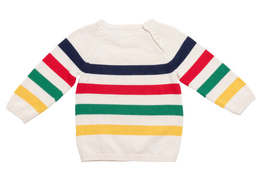 Autumn and winter children clothes. Close-up of colorful striped cozy warm sweater or pullover isolated on a white background. Kids autumn fashion. Back side view.