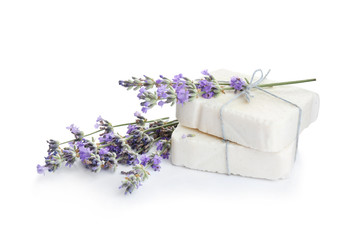 Wall Mural - Hand made soap bars with lavender flowers on white background