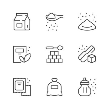 Set line icons of sugar