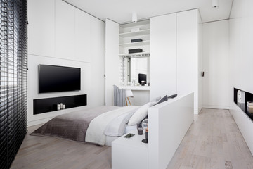 Stylish bedroom with dressing table