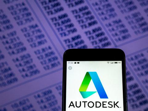 Kiev, Ukraine, November 30, 2018, illustrative editorial. Autodesk Software company logo seen displayed on smart phone..