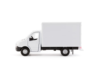 Cargo delivery truck side view on white background