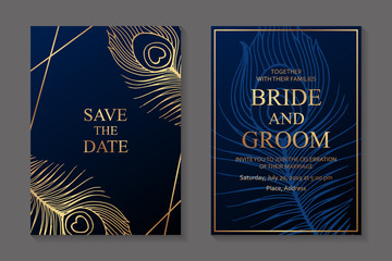 Wedding invitation design or greeting card templates with golden peacock feathers on a dark blue background. Wall mural