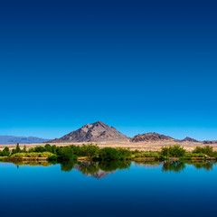 Nevada Desert landscape with view of mountain and lake at Henderson Bird Viewing Preserve