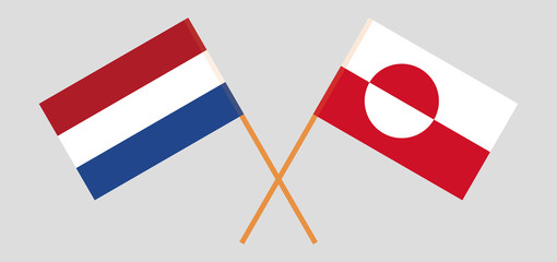 Greenland and Netherlands. Crossed Greenlandic and Netherlandish flags