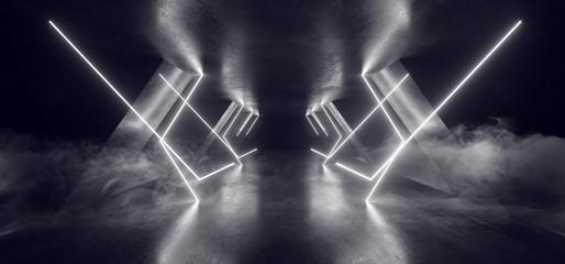 Smoke Neon Laser Glowing White Sci Fi Futuristic Grunge Concrete Triangle Shape Tunnel Corridor Showroom Night Dark Empty Background Spaceship Club 3D Rendering Wall mural